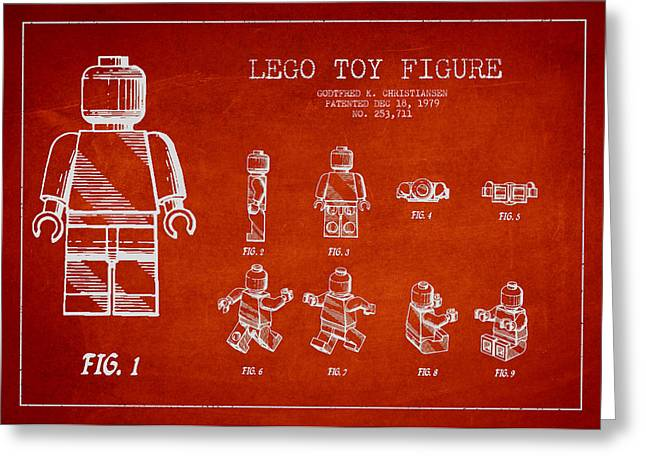 Lego Digital Art Greeting Cards - Lego toy Figure Patent Drawing Greeting Card by Aged Pixel