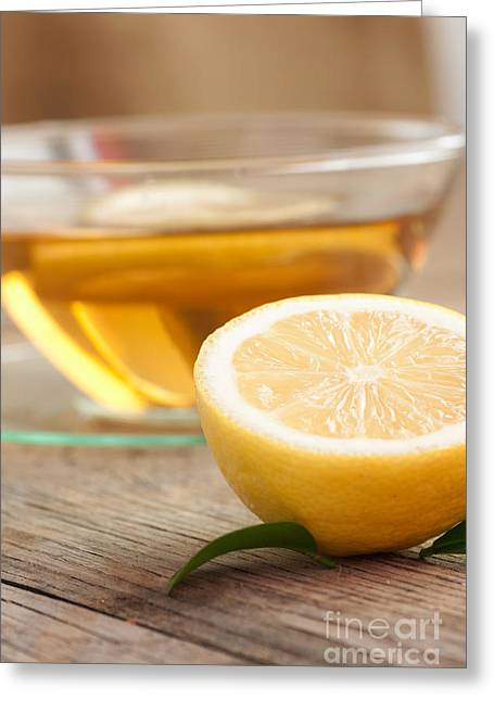 Wooden Bowl Greeting Cards - Lemon fruit tea Greeting Card by Mythja  Photography