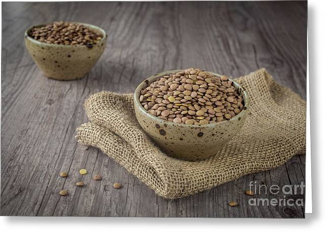 Wooden Bowl Greeting Cards - Lentils Greeting Card by Sabino Parente