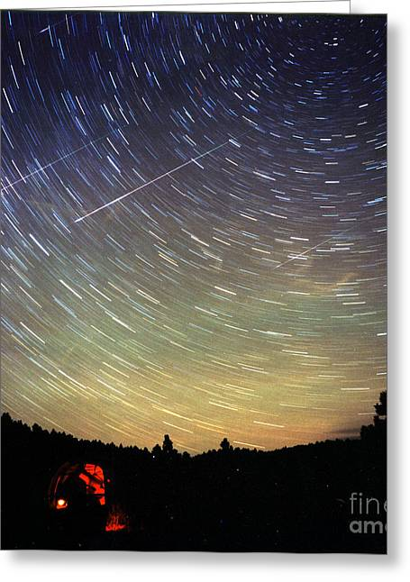 Meteor Shower Greeting Cards - Leonid Meteor Shower Greeting Card by John Chumack