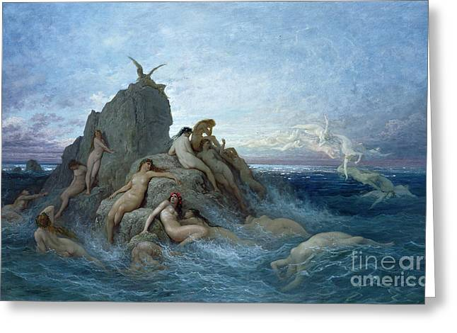 Female Body Paintings Greeting Cards - Les Oceanides Greeting Card by Gustave Dore