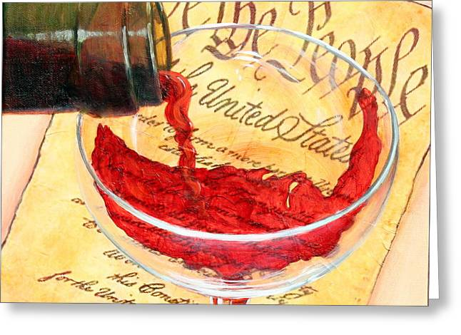 Wine Pour Greeting Cards - Let Freedom Ring Greeting Card by Sandi Whetzel
