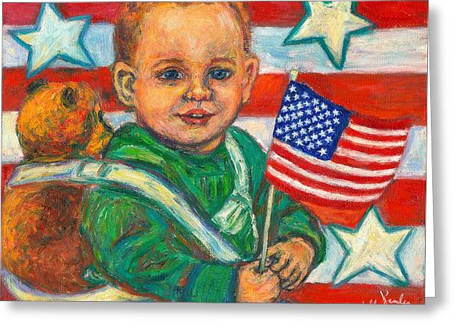 Child With Teddy Bear Greeting Cards - Liberty Greeting Card by Kendall Kessler