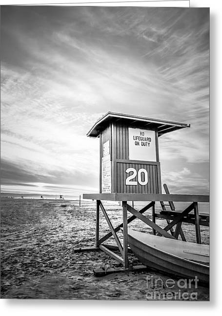 Sand Stand Greeting Cards - Lifeguard Tower 20 Newport Beach CA Picture Greeting Card by Paul Velgos