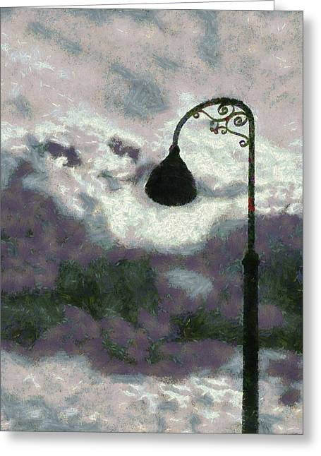 Religious Art Digital Art Greeting Cards - Light In The Sky Greeting Card by Barbara Snyder