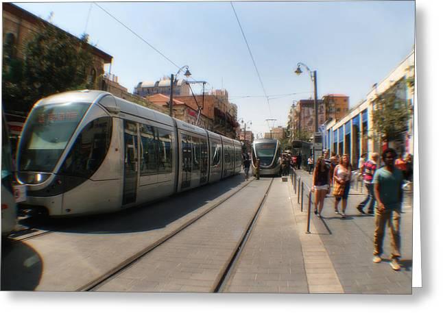 Petra Mixed Media Greeting Cards - Light Rail Jerusalem Greeting Card by Michael Braham