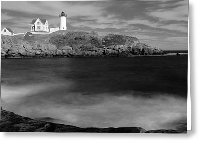 Cape Neddick Lighthouse Greeting Cards - Lighthouse At A Coast, Nubble Greeting Card by Panoramic Images