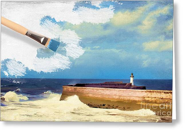 Stormy Ocean Greeting Cards - Lighthouse At Whitehaven Greeting Card by Amanda And Christopher Elwell