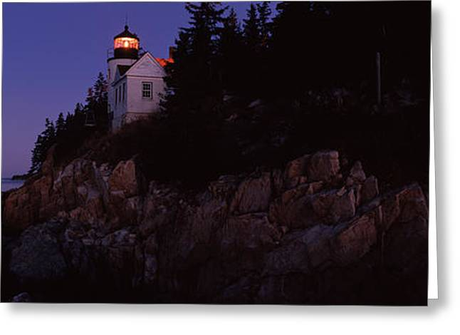 Coastal Maine Greeting Cards - Lighthouse On The Coast, Bass Head Greeting Card by Panoramic Images
