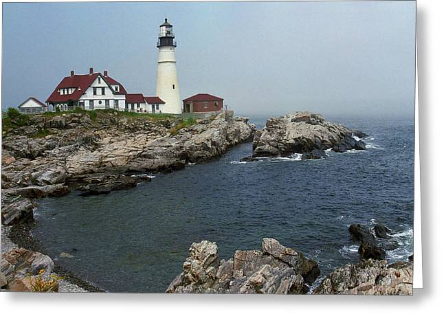 Lighthouse - Portland Head Maine Greeting Card by Frank Romeo