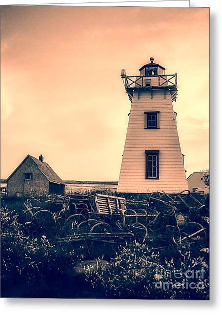 Sea Scape Greeting Cards - Lighthouse Prince Edward Island Greeting Card by Edward Fielding
