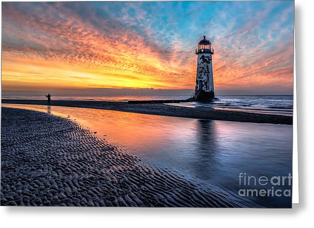 People Digital Greeting Cards - Lighthouse Sunset Greeting Card by Adrian Evans