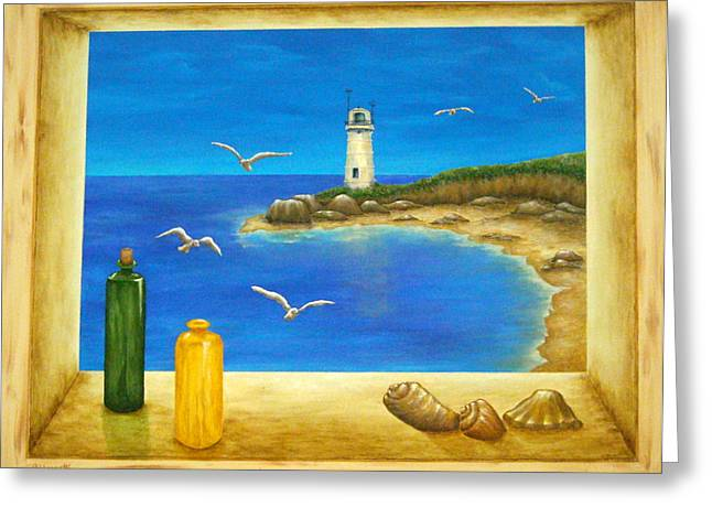 Atlantic Beaches Mixed Media Greeting Cards - Lighthouse View Greeting Card by Pamela Allegretto