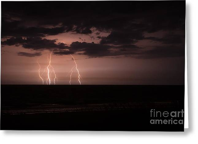Lightning Over The Ocean Greeting Card by Dawna  Moore Photography