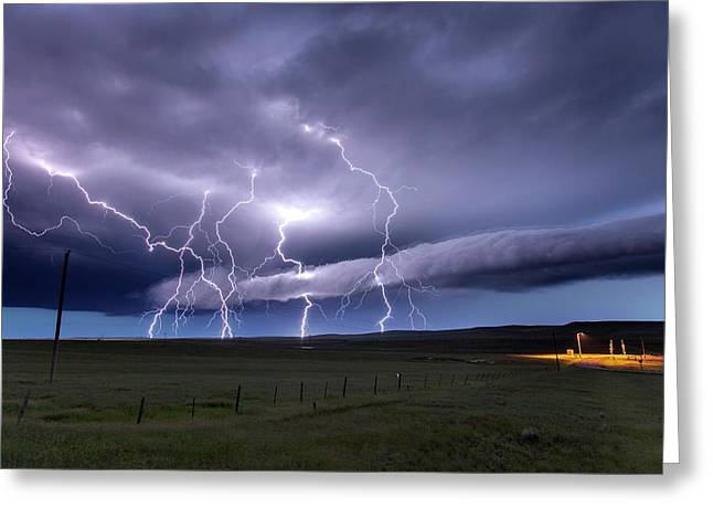 Lightning Strikes Greeting Card by Roger Hill