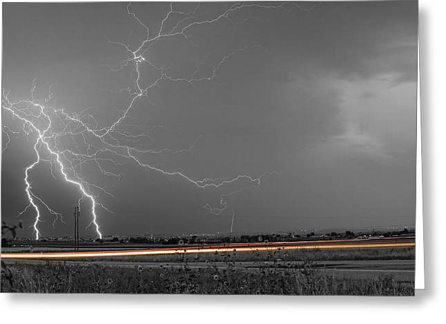 Storm Prints Photographs Greeting Cards - Lightning Thunderstorm DragOn Greeting Card by James BO  Insogna