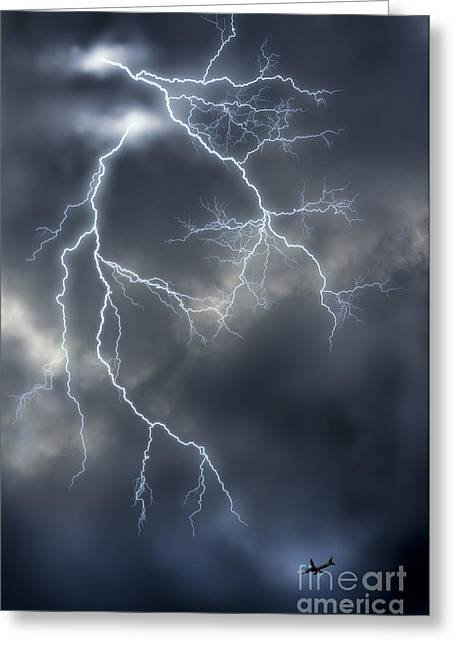 Airoplane Greeting Cards - Lightnings Greeting Card by Tuimages