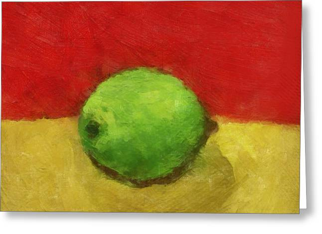Sour Digital Art Greeting Cards - Lime with Red and Gold Greeting Card by Michelle Calkins