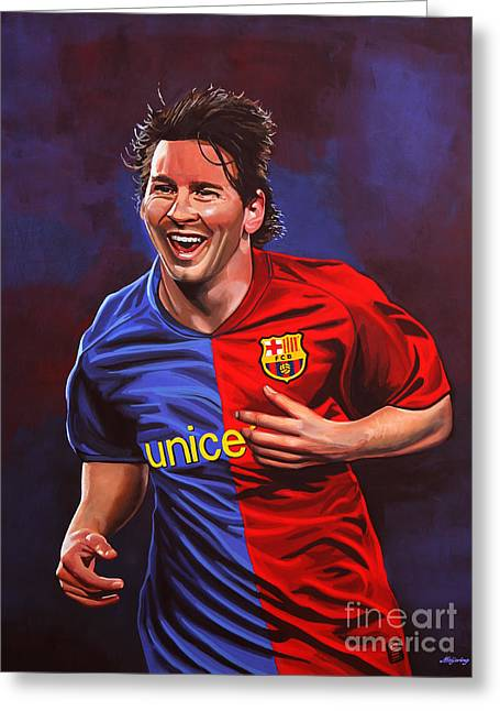 National Football League Paintings Greeting Cards - Lionel Messi  Greeting Card by Paul Meijering