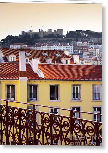 Ironwork Greeting Cards - Lisbon View Greeting Card by Carlos Caetano