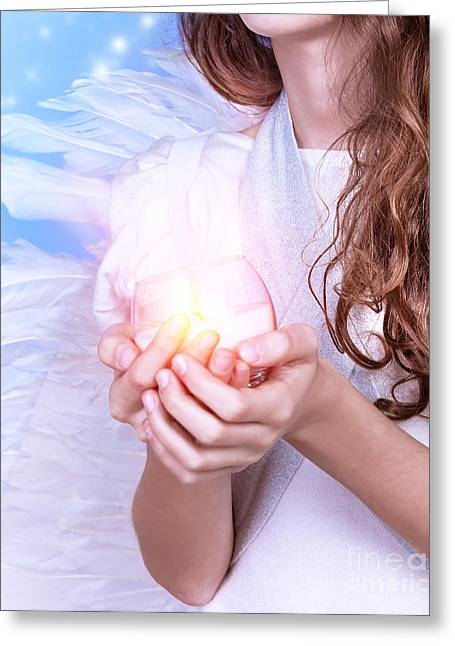 Praying Hands Greeting Cards - Little angel Greeting Card by Anna Omelchenko