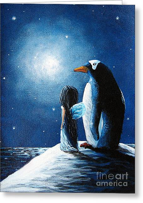 Snowy Night Night Greeting Cards - Little Penguin Fairy by Shawna Erback Greeting Card by Shawna Erback