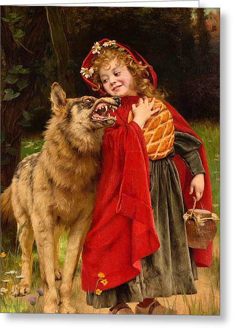 Little Red Riding Hood Greeting Card by Gabriel Joseph Marie Augustin Ferrier