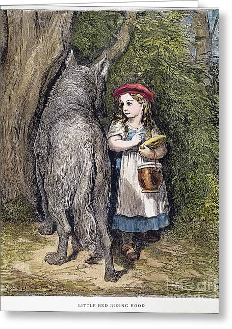 Wolf Woman Greeting Cards - Little Red Riding Hood Greeting Card by Granger