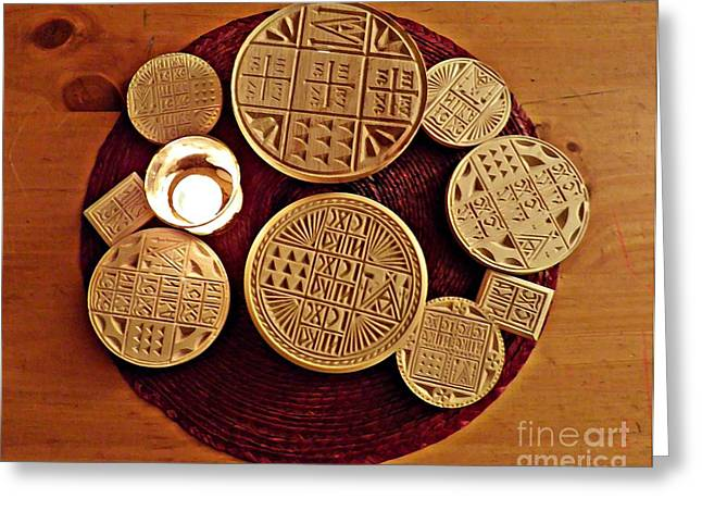 Orthodox Christian Greeting Cards - Liturgical Bread Stamps Greeting Card by Sarah Loft