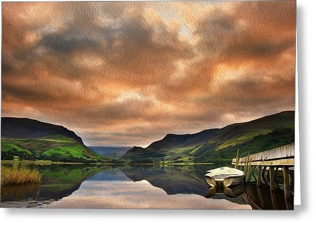 Colorful Cloud Formations Greeting Cards - Llyn Nantlle at sunrise looking towards mist shrouded Mount Snowdon digital painting Greeting Card by Matthew Gibson