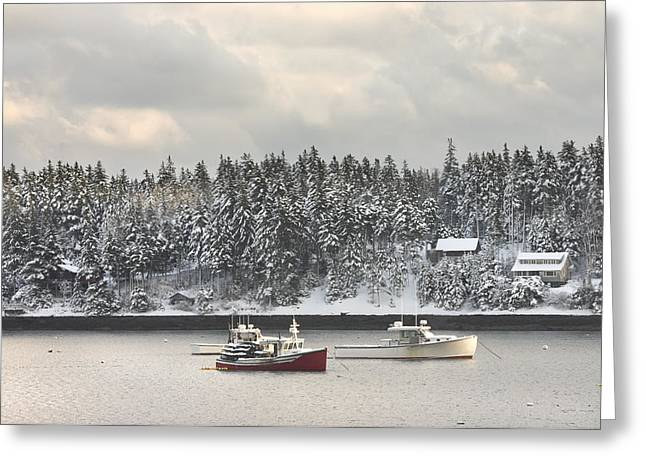 Winter In Maine Greeting Cards - Lobster Boats After Snowstorm in Tenants Harbor Maine Greeting Card by Keith Webber Jr