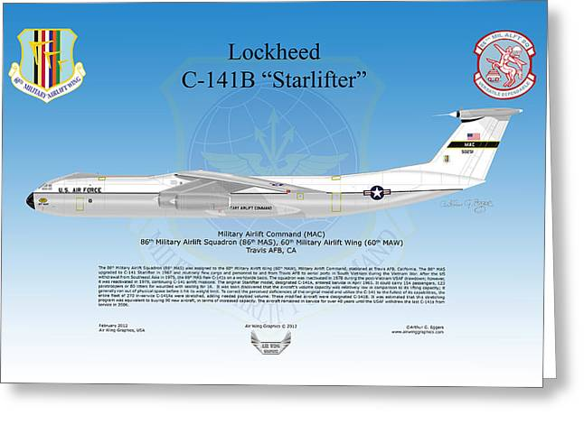 Deployment Prints Greeting Cards - Lockheed C-141B Starlifter Greeting Card by Arthur Eggers
