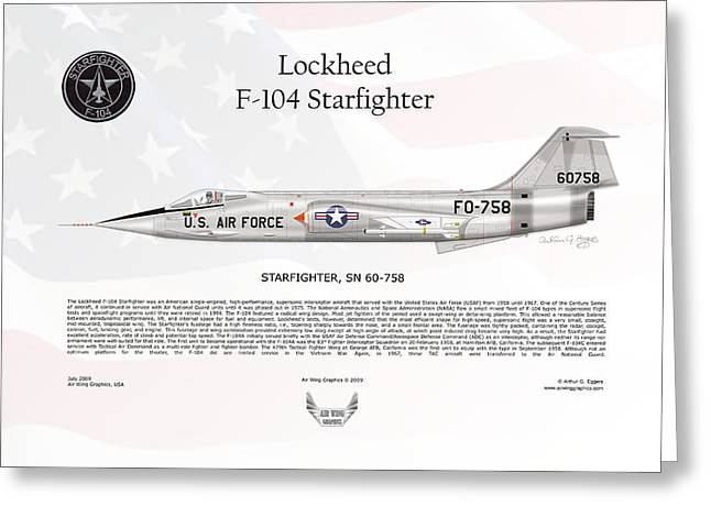 Starfighter Greeting Cards - Lockheed F-104 Starfighter Greeting Card by Arthur Eggers