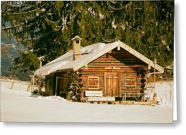 Analog Greeting Cards - Log Cabin in Winter Mountains - Germany Greeting Card by Mountain Dreams