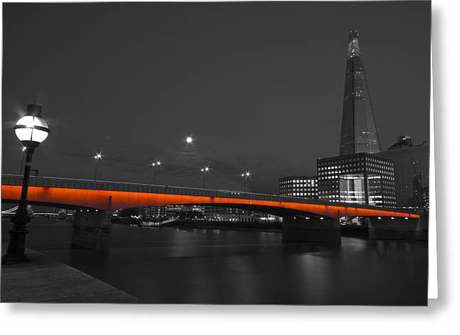 Chelsea Greeting Cards - London Bridge Shard night  Greeting Card by David French