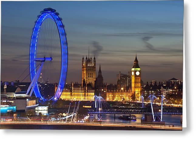 London Night Skyline Greeting Card by Matthew Gibson