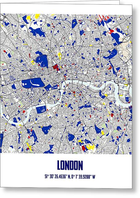 Circles Squares Triangle Textured Greeting Cards - London Piet Mondrian Style City Street Map Art Greeting Card by Adam Asar