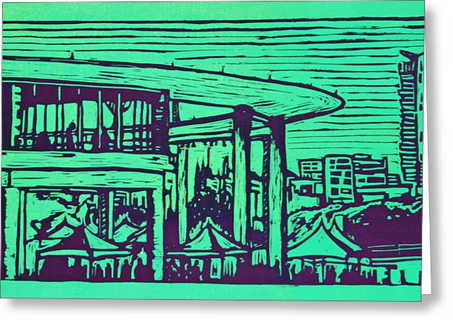 Lino Drawings Greeting Cards - Long Center Greeting Card by William Cauthern