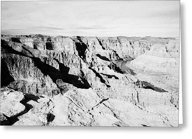 Guano Greeting Cards - looking over the edge into the grand canyon and colorado river guano point Grand Canyon west arizona Greeting Card by Joe Fox