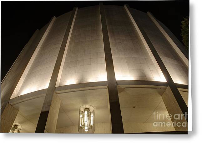 Mhs Greeting Cards - Looking Up Founders Hall at Night Greeting Card by Mark Dodd