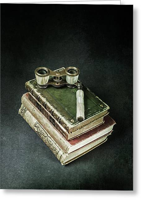 Book Greeting Cards - Lorgnette With Books Greeting Card by Joana Kruse