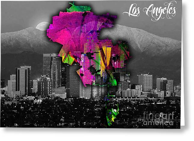 California Map Greeting Cards - Los Angeles Map and Skyline Watercolor Greeting Card by Marvin Blaine