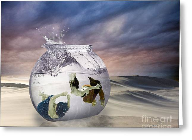 2 Lost Souls Living In A Fishbowl Greeting Card by Linda Lees