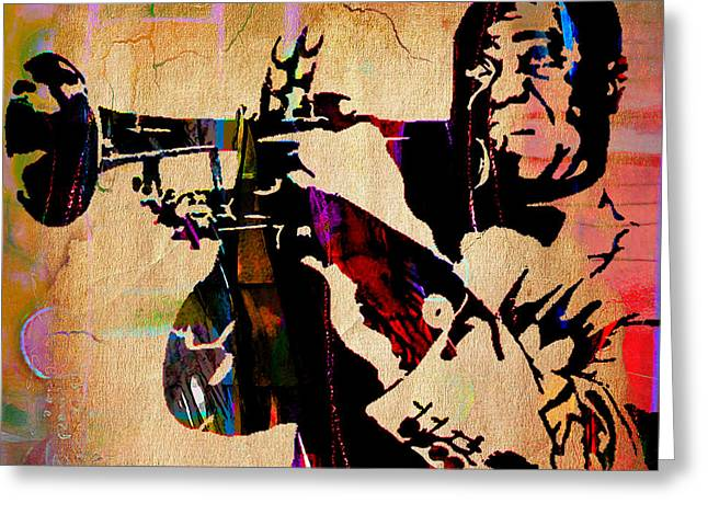 Trumpet Greeting Cards - Louis Armstrong Collection Greeting Card by Marvin Blaine