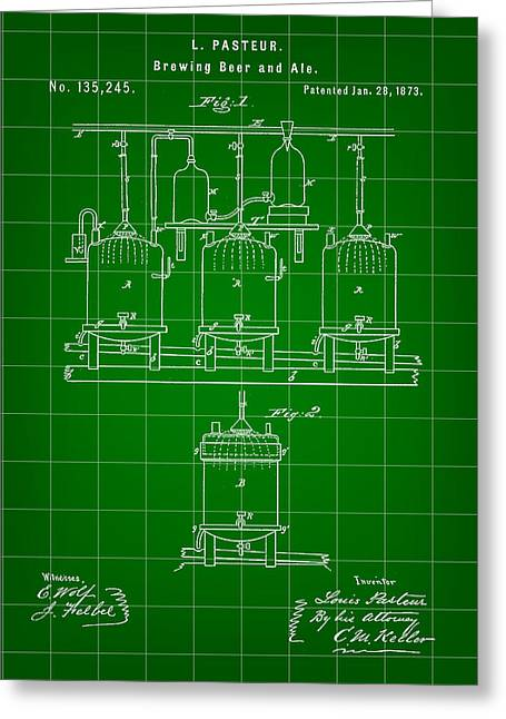 Louis Pasteur Beer Brewing Patent 1873 - Green Greeting Card by Stephen Younts