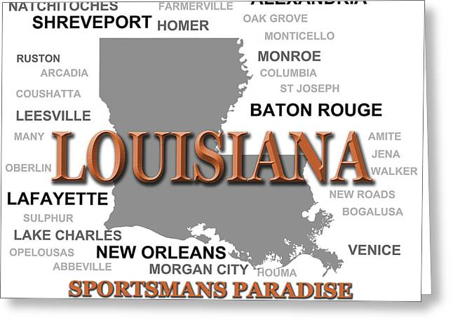 Baton Rouge Greeting Cards - Louisiana State Pride Map Silhouette  Greeting Card by Keith Webber Jr