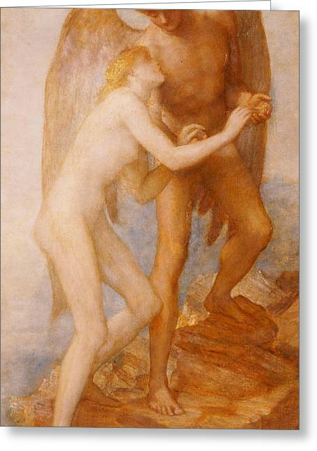 Naked Men Greeting Cards - Love And Life Greeting Card by George Frederic Watts