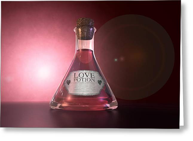 Labelled Greeting Cards - Love Potion Greeting Card by Allan Swart