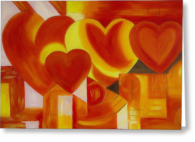 Abstract Painter Greeting Cards - Love Greeting Card by Veikko Suikkanen