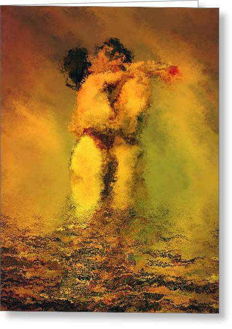 Couple Kissing Greeting Cards - Lovers Greeting Card by Kurt Van Wagner